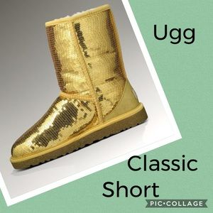 Ugg gold sequin Classic Short Boots Size 10 NWOT
